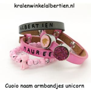 Armbandje roze grijs unicorn cuoio kralen poes roze