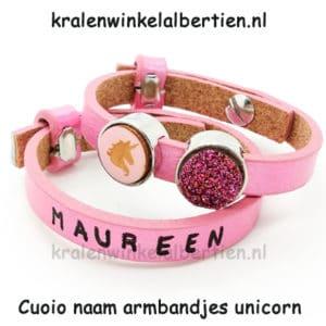 Cuoio leren armband roze kids unicorn cabochons 12mm