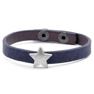 Pu leren armbandje donker blauw ster verstelbaar goedkoop kado
