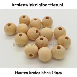 Blanke kraal hout ongelakt 14mm groot gat