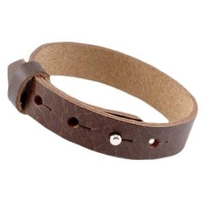 Armband man leer verstelbaar breed bruin studs sluiting