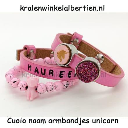 Cuoio armband met naam unicorn druzy cabochons