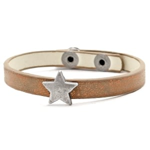 Hippe armband 8mm metalen ster pu leer verstelbaar kerstcadeau