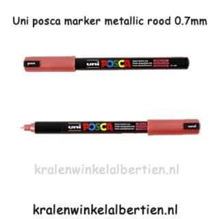 Uni posca pen in kleuren van echt leer metallic rood PC-1MR