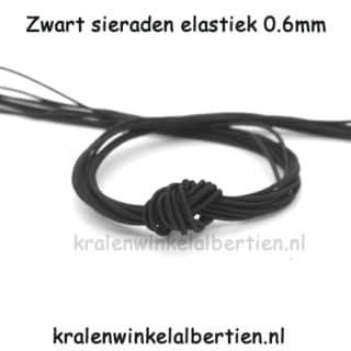 Elastisch koord sieraden maken zwart 0.6mm dun