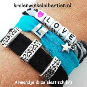 Armbandjes elastisch lint zelf maken letter schuifkralen