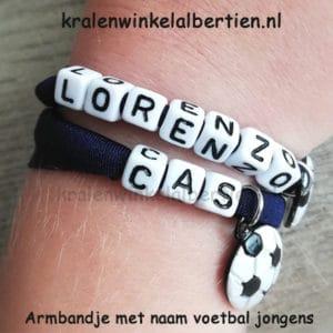 Stoere jongens voetbal armband met naam snel zelf maken