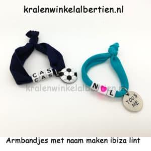 elastisch ibiza lint armbandjes met naam cadeauverpakking organza zakjes