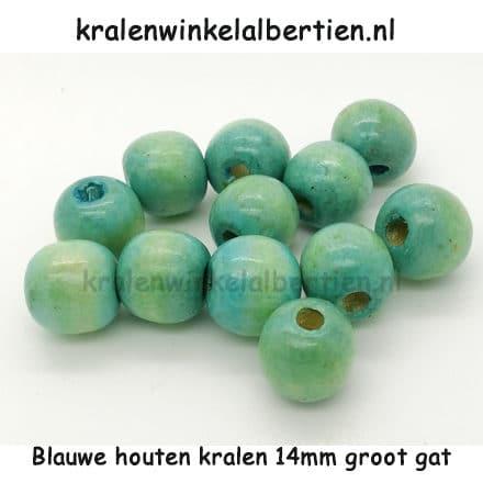 kraal hout blauw groot 14mm rond sieraden rijgen