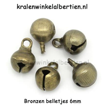 Belletje bedel brons 6mm hangers