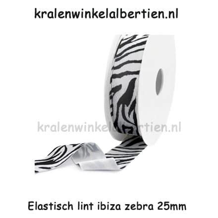 Ibiza koord elastiek lint zwart wit zebra print naam armbandjes zelf maken