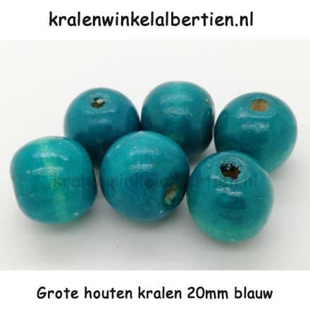 Kraal rond hout groot rijg gat 20mm blauw