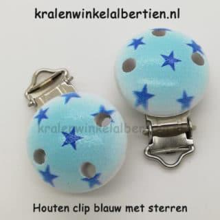 Clipje hout blauw met sterren metaal