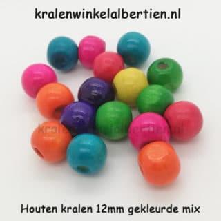 Kraal hout 12mm rond kleurenmix