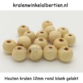Blanke ronde kraal hout 12mm gelakt groot gat