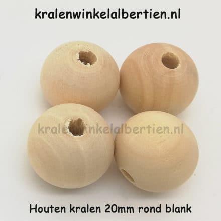 Blanke kraal hout 2cm groot gat poppetjes haken