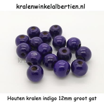 Kraal hout paars blauw 12mm groot rond