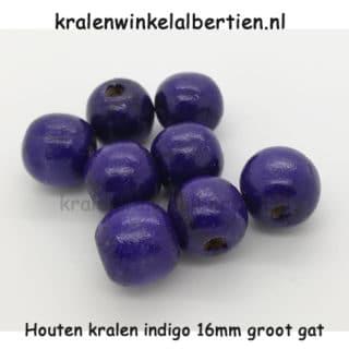 Kraal hout rond blauw paars 16mm groot