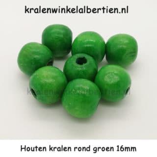 Kraal rond hout groen 16mm groot gat