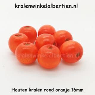 Kraal hout oranje 16mm groot gat rond