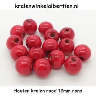 Rode kraal hout rond 12mm groot gat