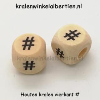 Hashtag kraal blank hout vierkant