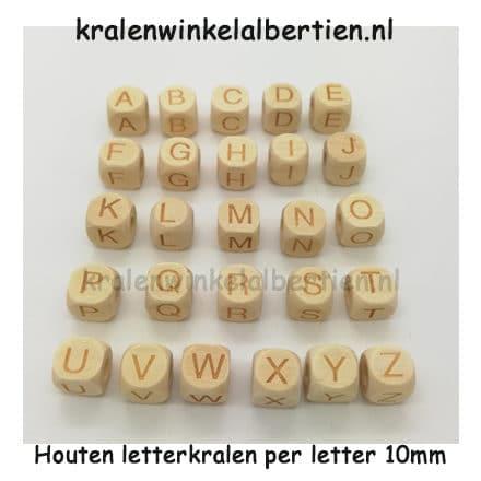 Alfabet kralen hout per letter blank gegraveerd 10mm vierkant