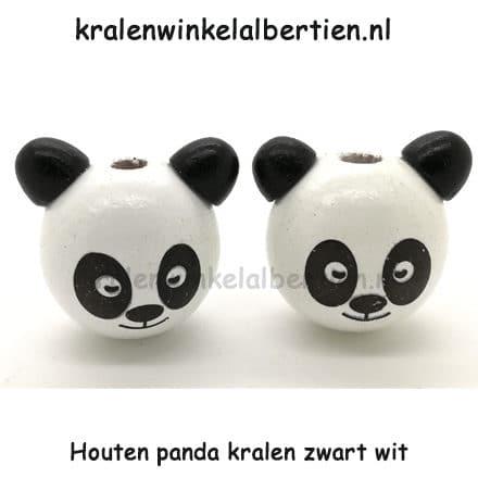 Panda Kralen Rond Hout Zwart Wit 29mm Kralenwinkel Albertien