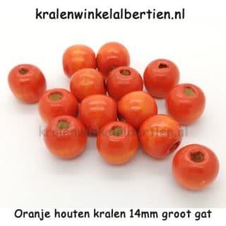 Kraal hout oranje 14mm groot gat rond