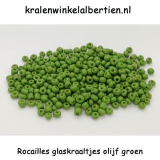 Rocaille kralen seeds beads olijf groen klein 3mm