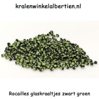 Seed beads rocaille kralen glas klein zwart groen