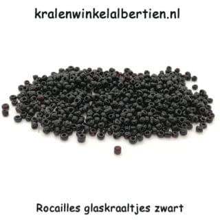 Rocaille klein zwart 2mm glas kralen seed beads