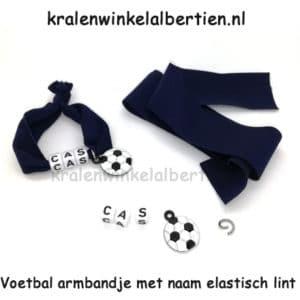 Elastisch lint armbandjes met naam maken jongens voetbal donkerblauw