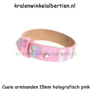 Leren cuoio armband 15mm breed verstelbaar roze dames