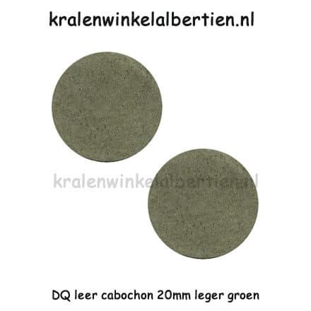 Cabochons rond leer bedel maken leger groen 20mm