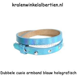 Cuoio armbanden Holographic blue verstelbaar leer