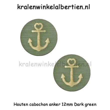 Cabochons hout rond 12mm leger groen anker