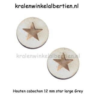 Cabochon hout ster grijs 12mm rond sieraden maken