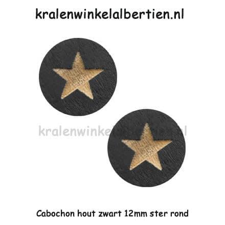 Cabochon hout rond zwart ster 12mm