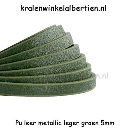Imitatie leren koord 5mm leger groen metallic