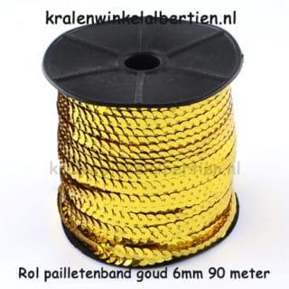 Pailletten lint goudkleurig 6mm op rol 90 meter goedkoop