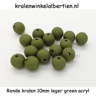 10mm kraal donker leger groen rond kunststof