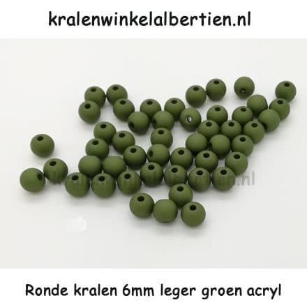 Kunststof kraal rond 6mm donker groen leger olijf