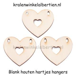 Blanke label hout hartje 2 gaten hangers bedel