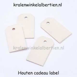 Cadeau labeltje blanke hanger hout diy verpakken sieraden