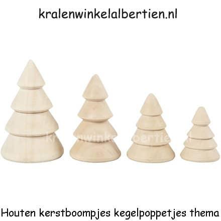 Houten Kerstbomen Kegelpoppetjes 4 Stuks Kralenwinkel Albertien
