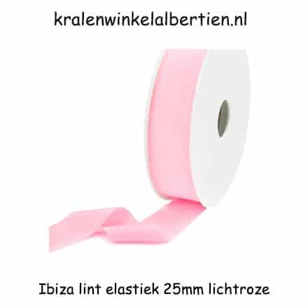 Elastisch lint ibiza licht roze 25mm