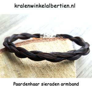 Rond gevlochten armband strass sluiting paardenhaar sieraad