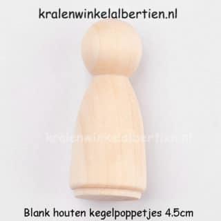 Blanke houten kegel poppetje 4.5cm groot DIY zelf maken poppenhuis meisje oma mama