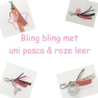 Bling bling met uni posca en roze leer